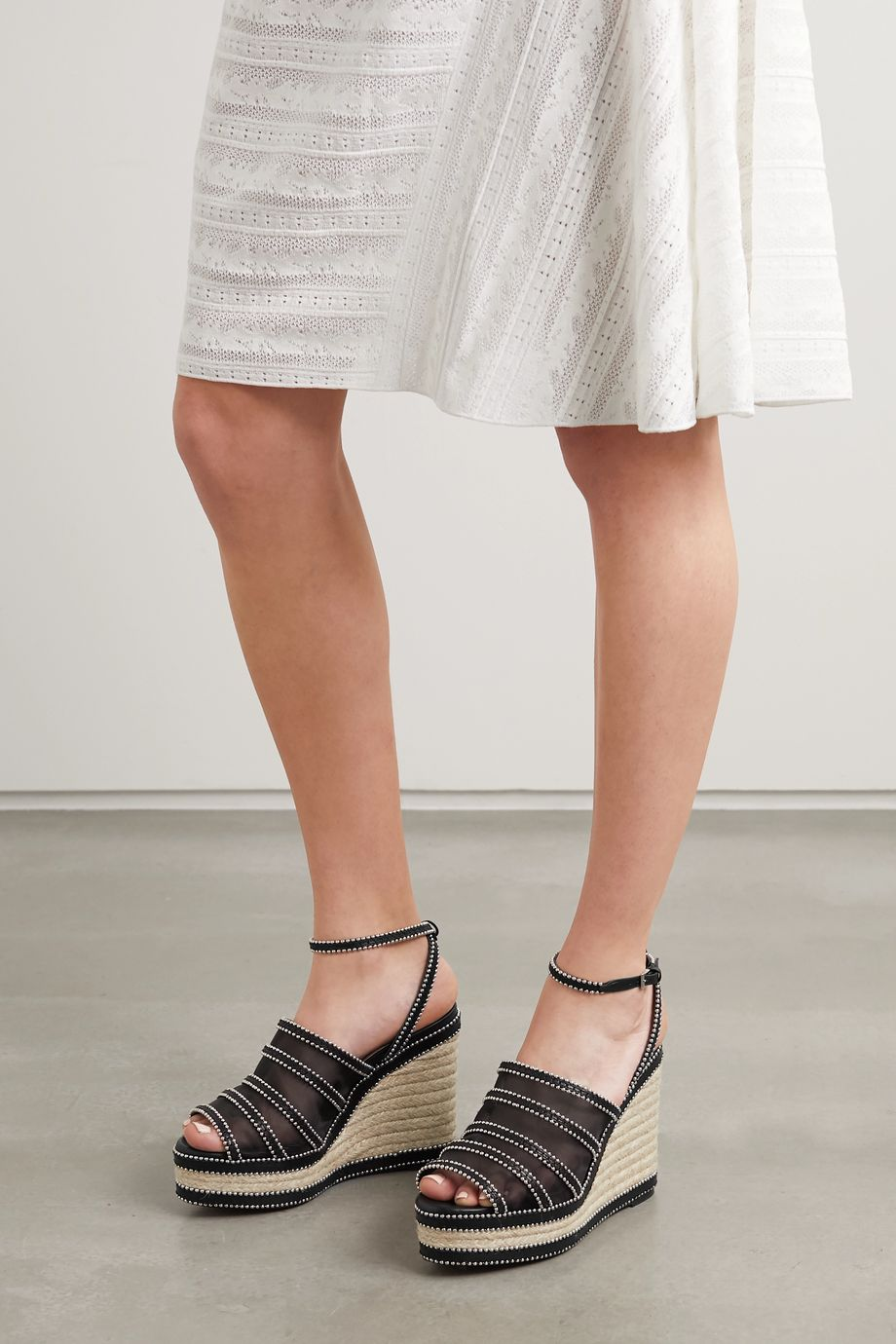Alaïa 140 studded mesh and leather espadrille wedge sandals