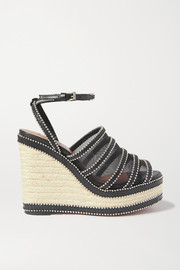 140 studded mesh and leather espadrille wedge sandals