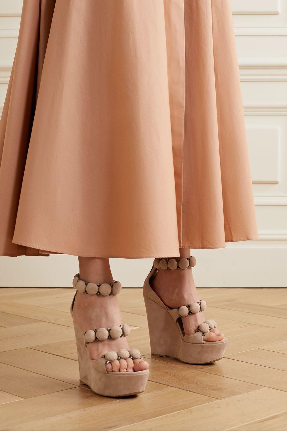 Alaïa Bombe 140 studded suede platform wedge sandals