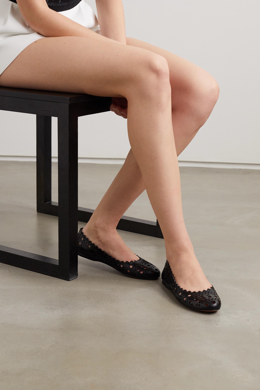 Alaïa Laser-cut leather ballet flats