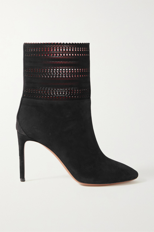 Black 90 laser-cut suede ankle boots