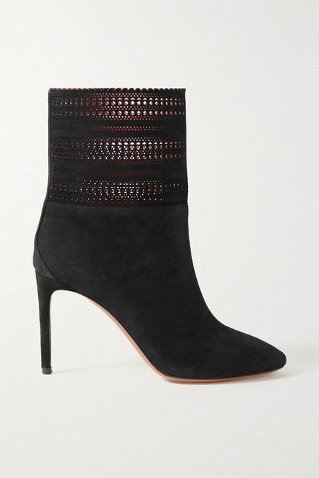 Black 90 laser-cut suede ankle boots | Alaïa JczoaC