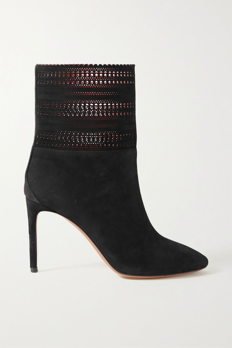 Alaïa 90 laser-cut suede ankle boots