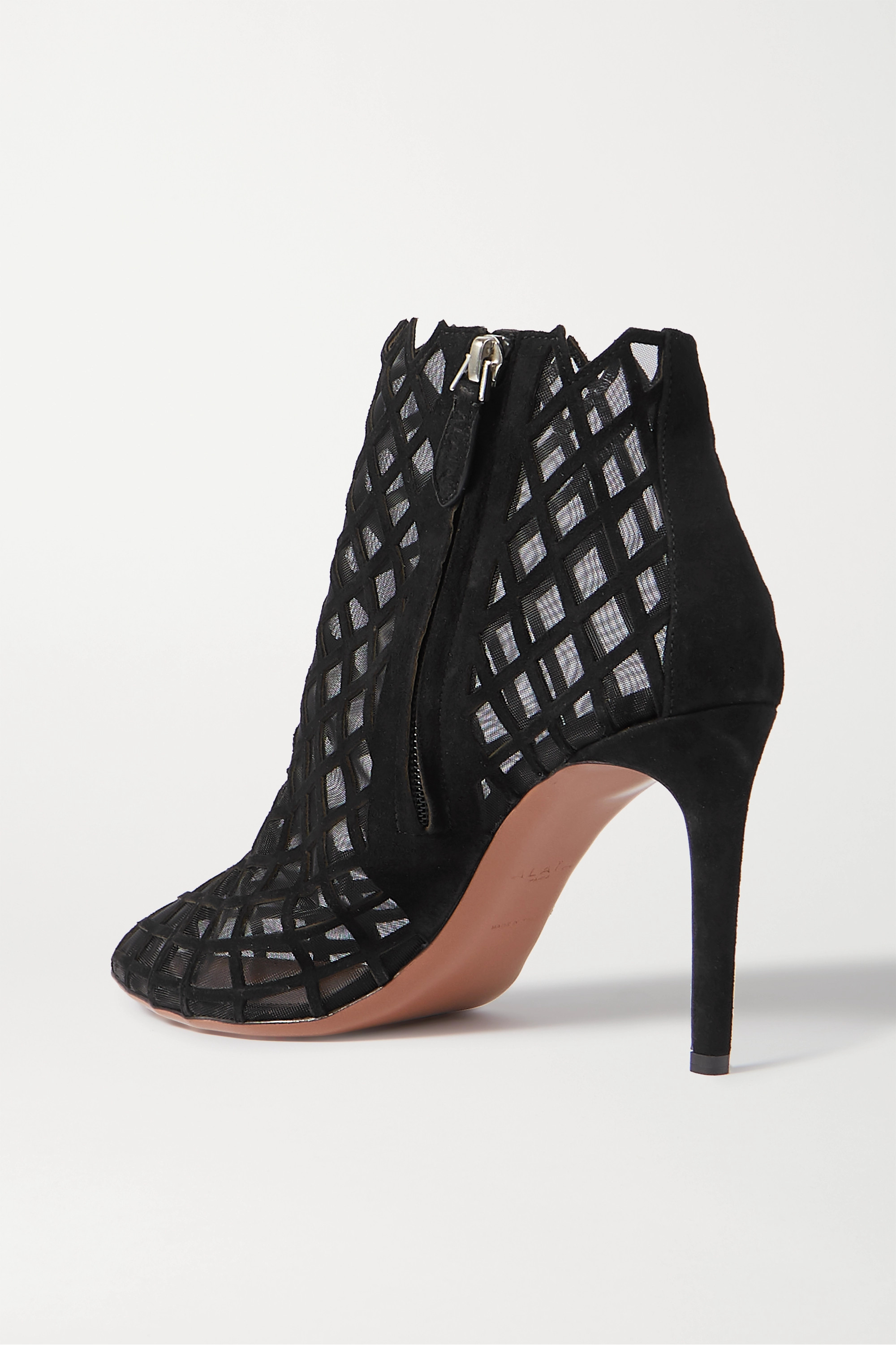 Alaïa 90 laser-cut suede and mesh ankle boots