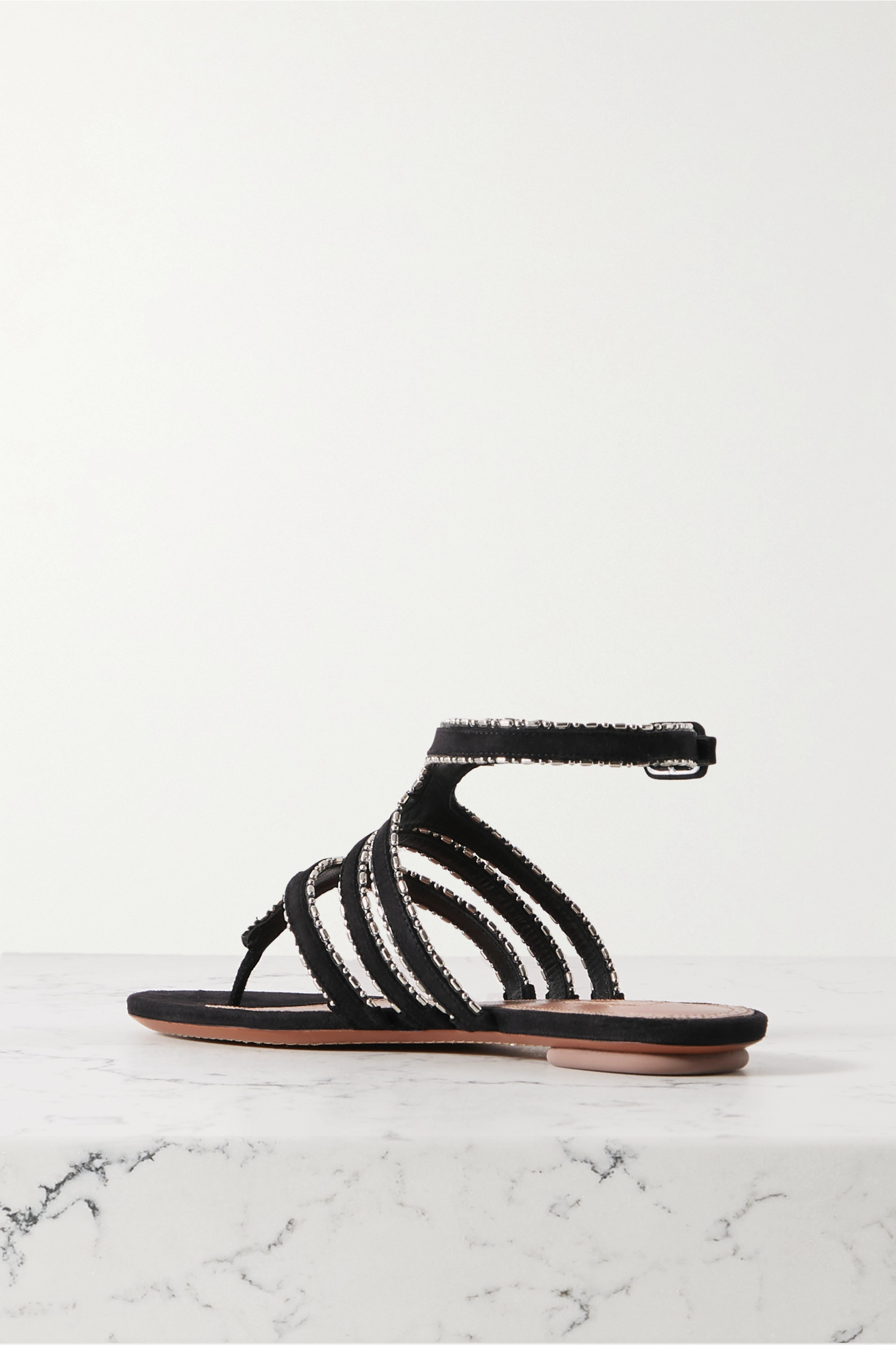 Black Beaded Suede Sandals | Alaïa