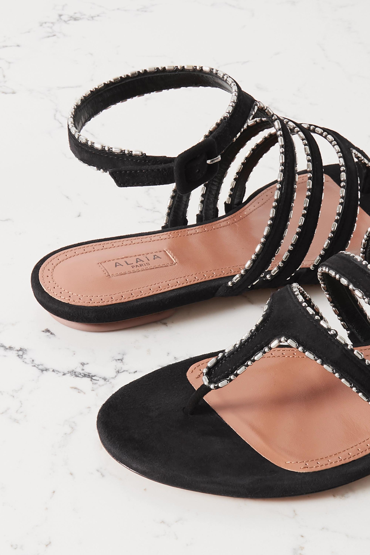 Alaïa Beaded suede sandals