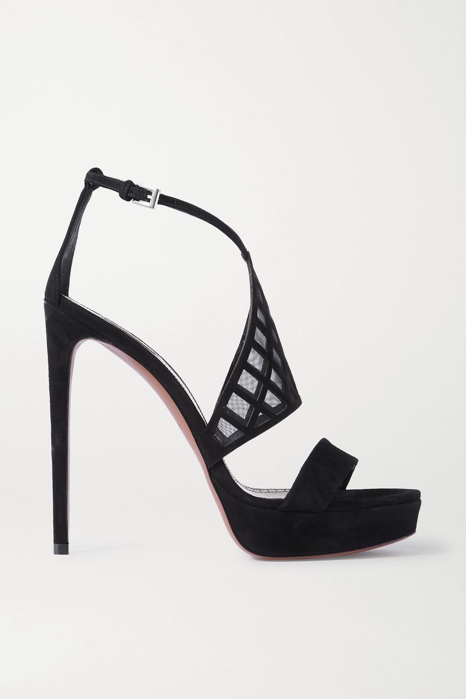 Alaïa 145 suede and mesh platform sandals