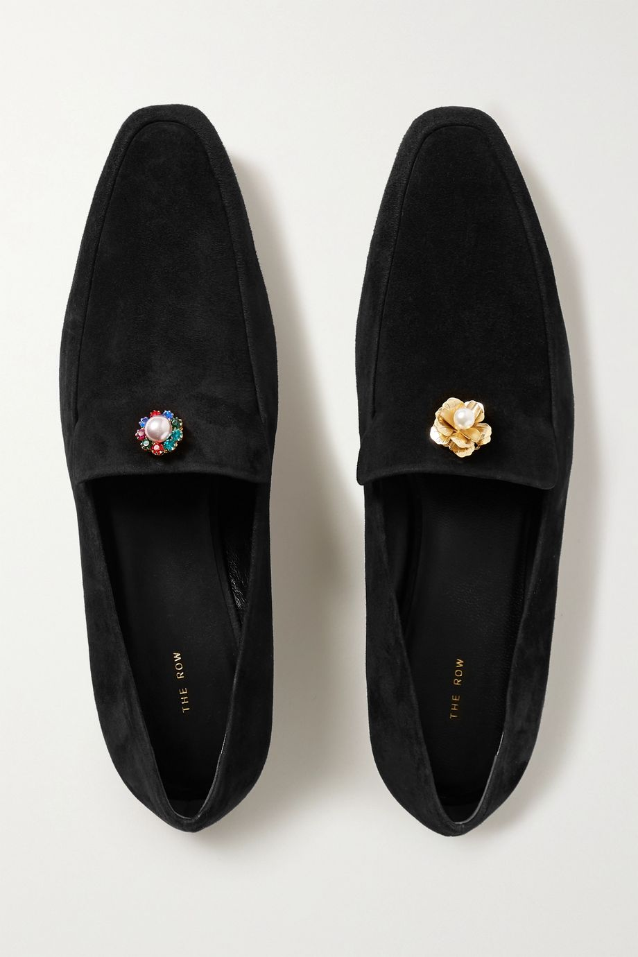 The Row Minimal embellished suede loafers