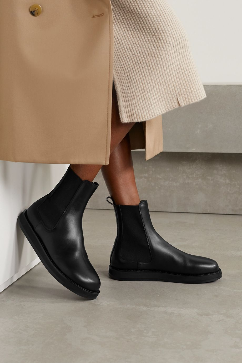 The Row Leather Chelsea boots