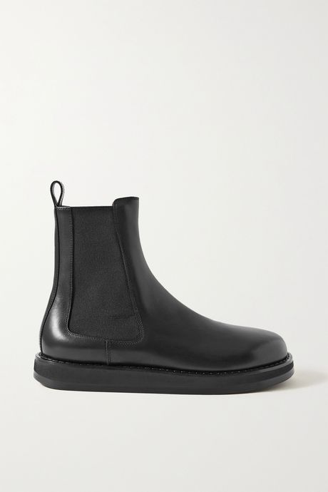 Black Leather Chelsea boots   The Row BgxFgg