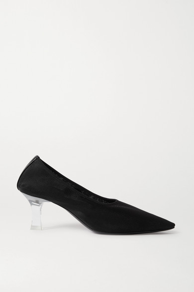 The Row Sock Acetate-heel Point-toe Mesh Pumps In Black