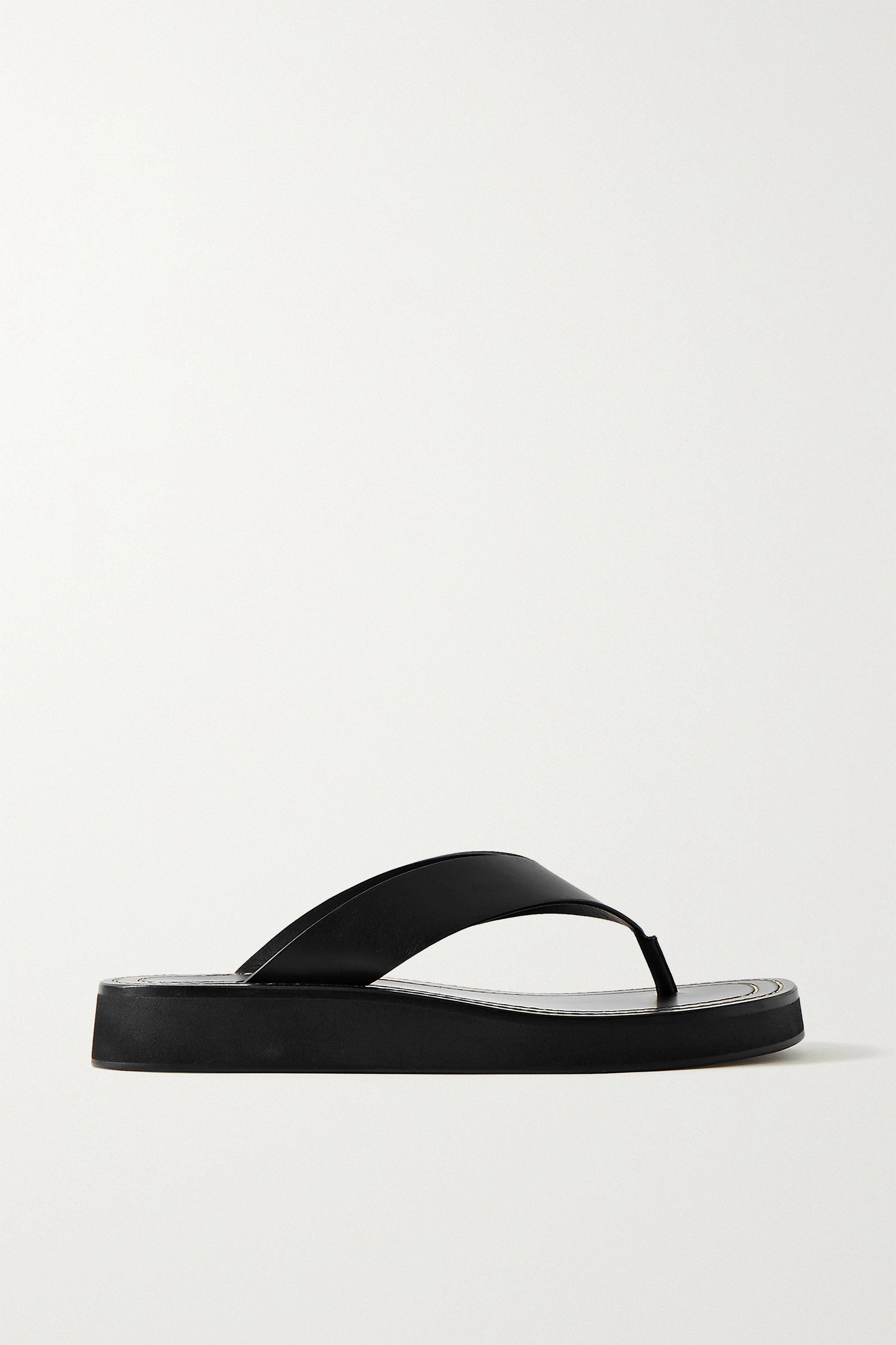 The Row Ginza leather platform flip flops