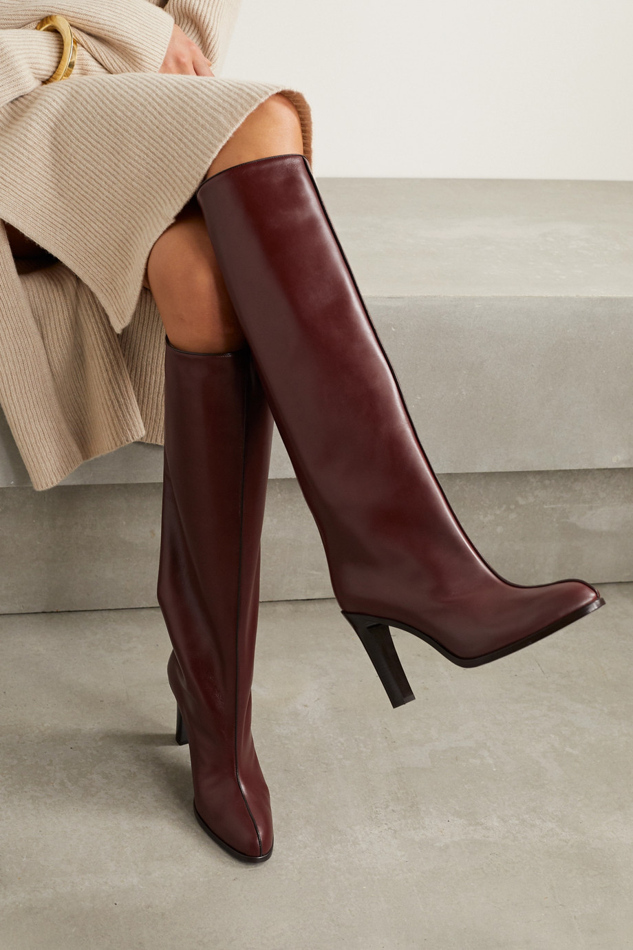 The Row Leather knee boots