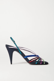 The Row Odeon metallic leather and grosgrain sandals