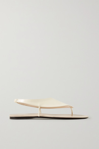 The Row Ravello Leather Slingback Flat Sandals In Beige
