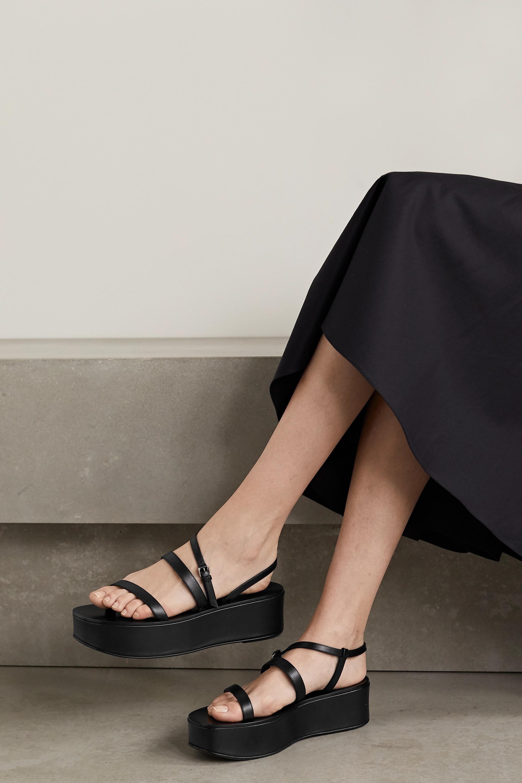 Black Wedge leather platform sandals