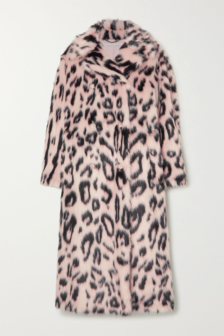 Stella McCartney Oversized double-breasted leopard-print faux fur coat