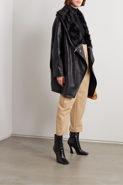 Stella McCartney Oversized-Jacke aus Kunstleder und Faux Fur