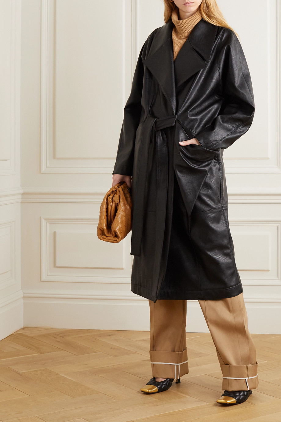 Stella McCartney Belted vegetarian leather coat