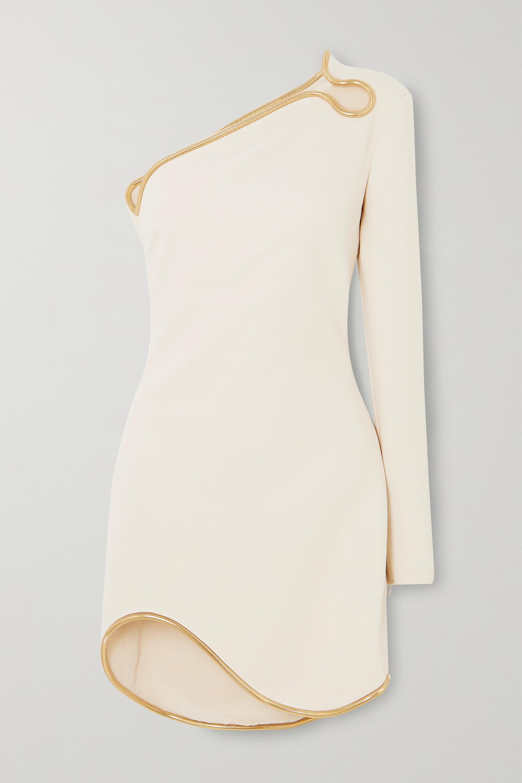 Stella McCartney + NET SUSTAIN one-sleeve asymmetric embellished cady mini dress