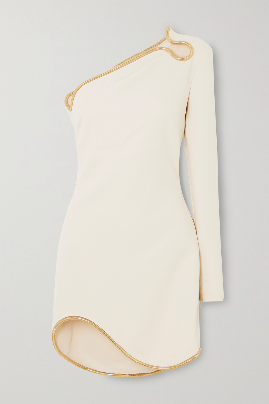 Stella McCartney + NET SUSTAIN one-sleeve asymmetric embellished cady mini dress
