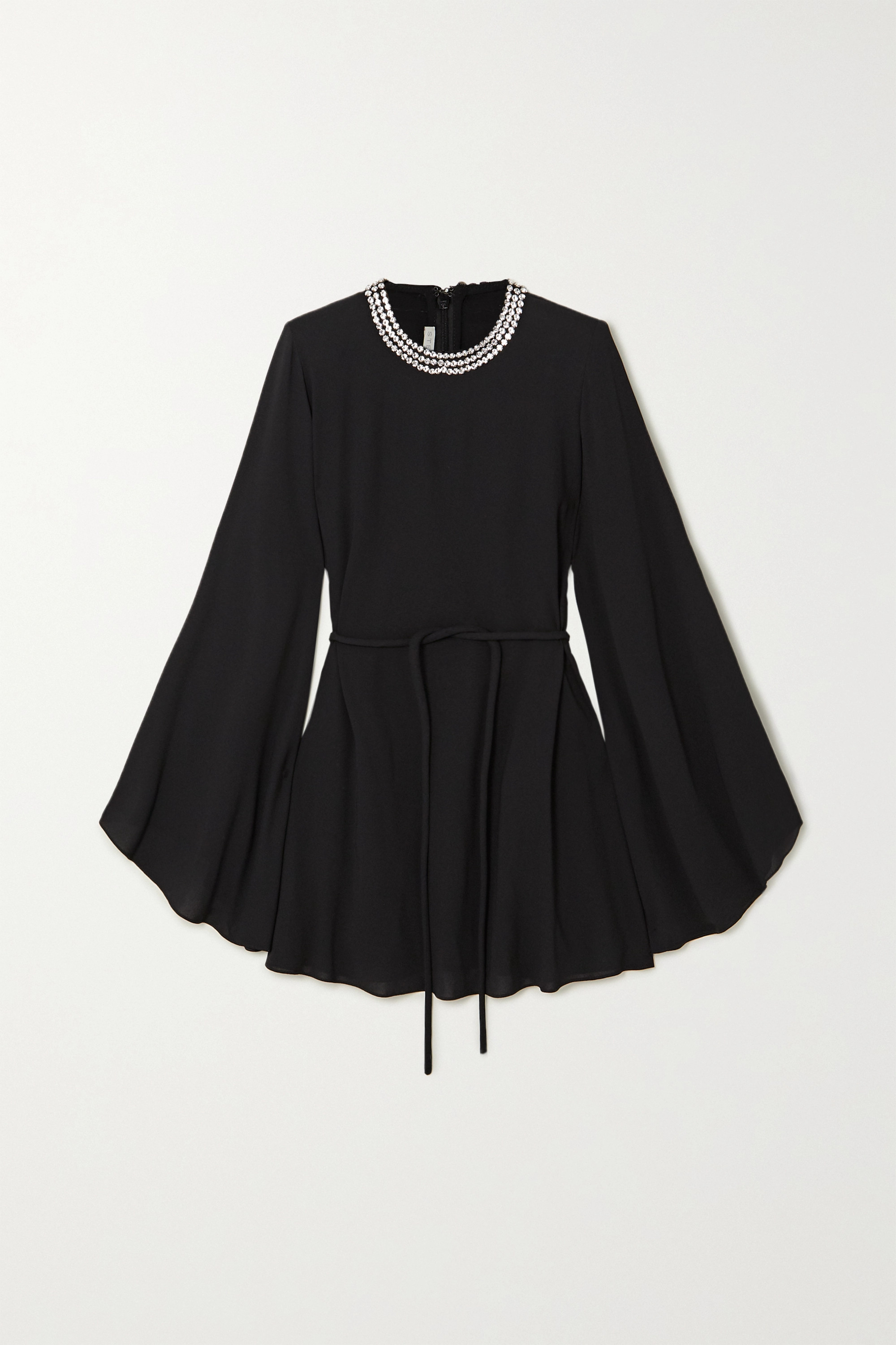 Stella McCartney Crystal-embellished belted crepe mini dress