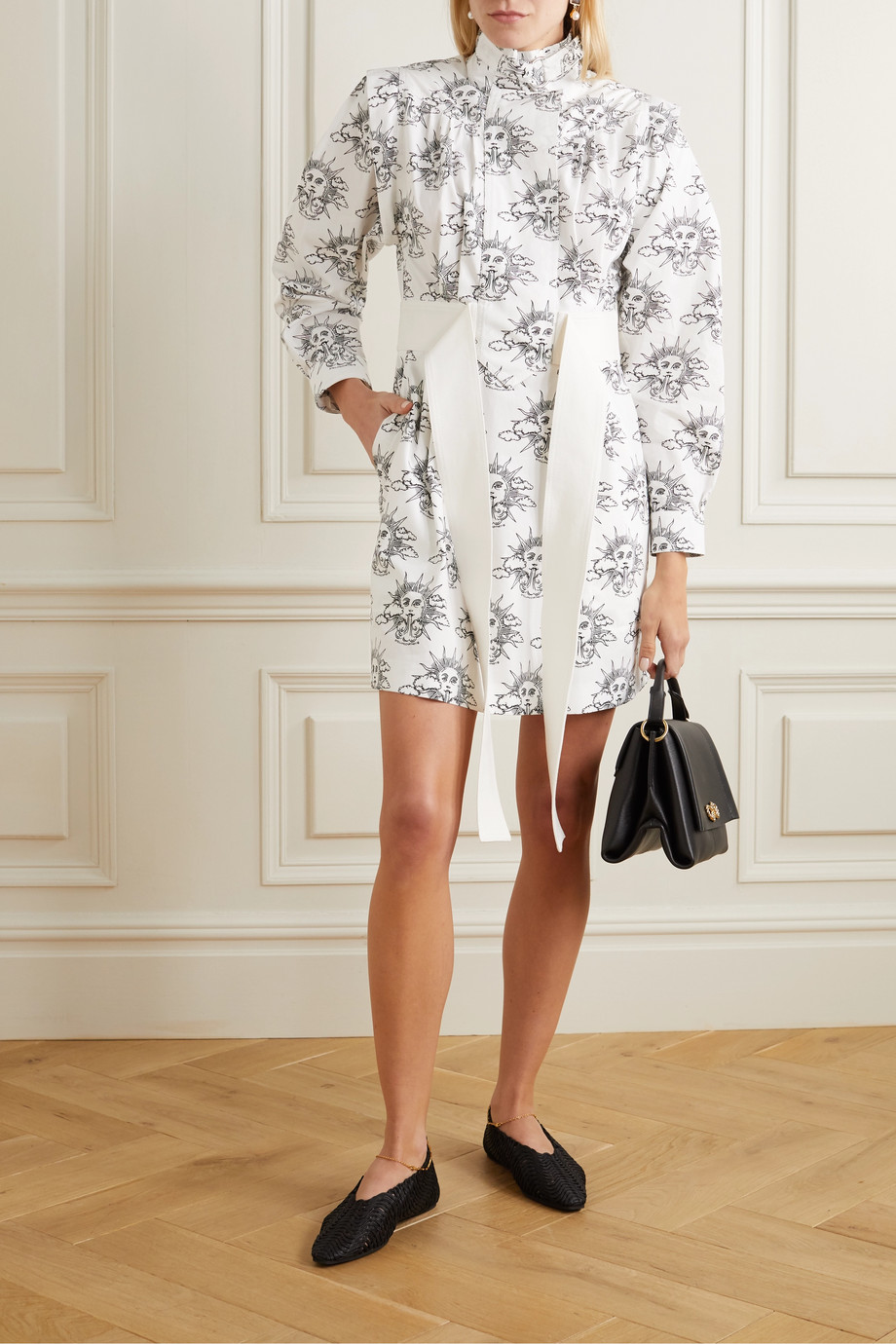 Stella McCartney We Are The Weather printed organic cotton-poplin mini shirt dress