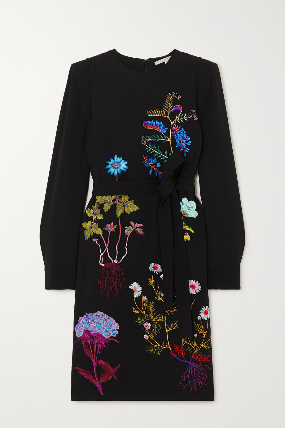 Stella McCartney + NET SUSTAIN belted embroidered cady midi dress