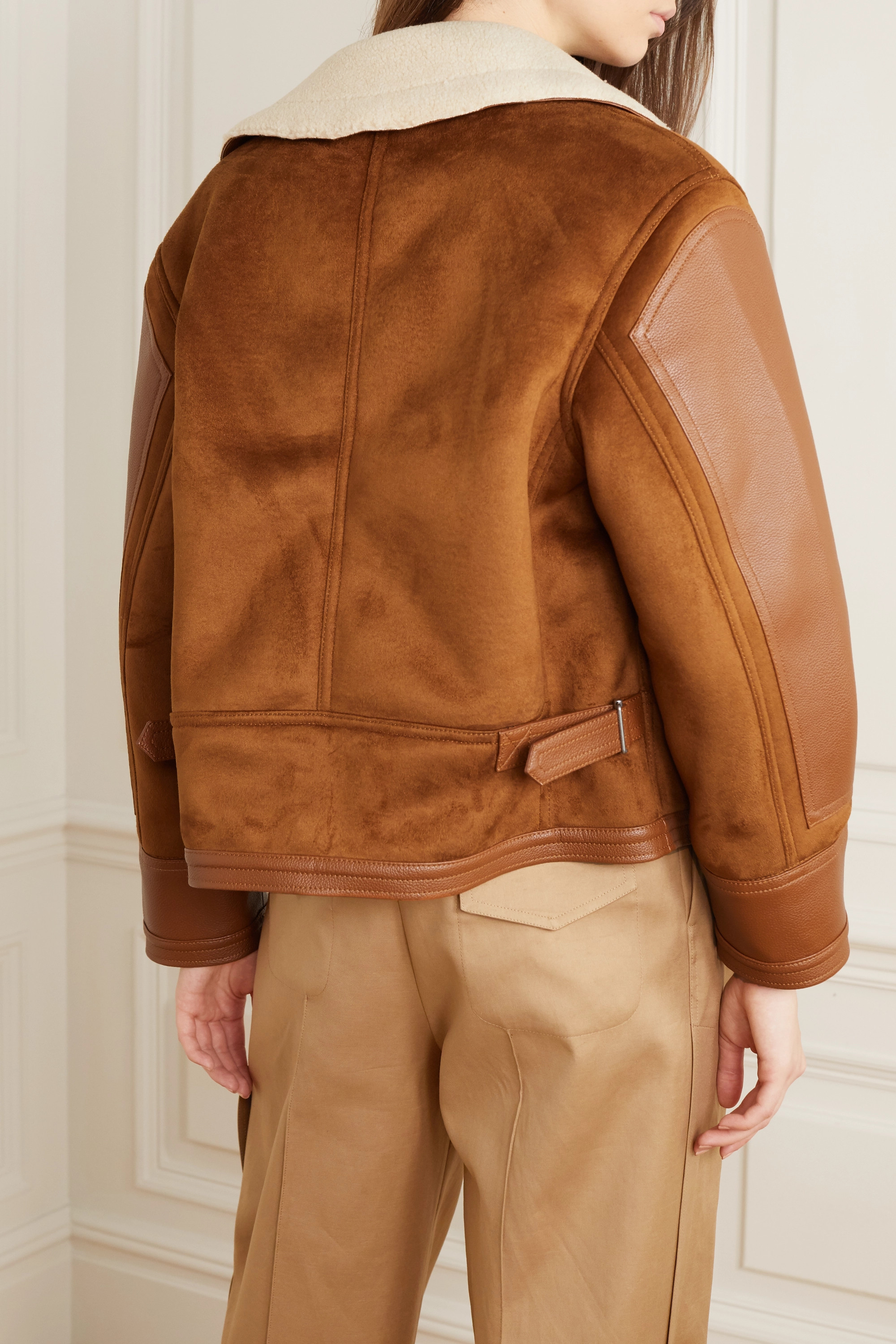 Stella McCartney Faux suede, leather and shearling jacket