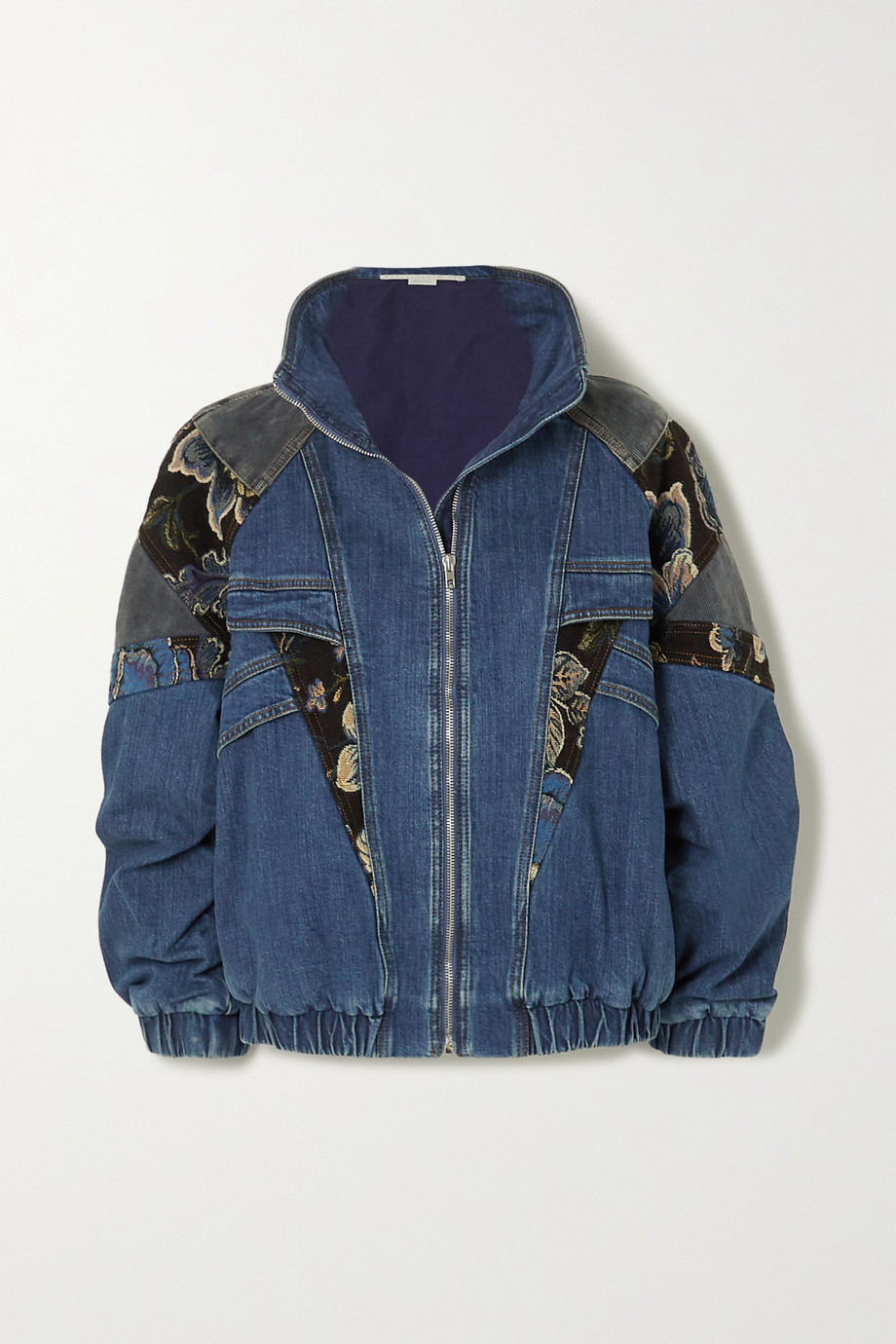 Stella McCartney Patchwork denim, jacquard and cotton-corduroy jacket