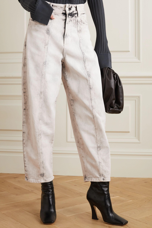 Stella McCartney Cropped acid-wash high-rise straight-leg jeans