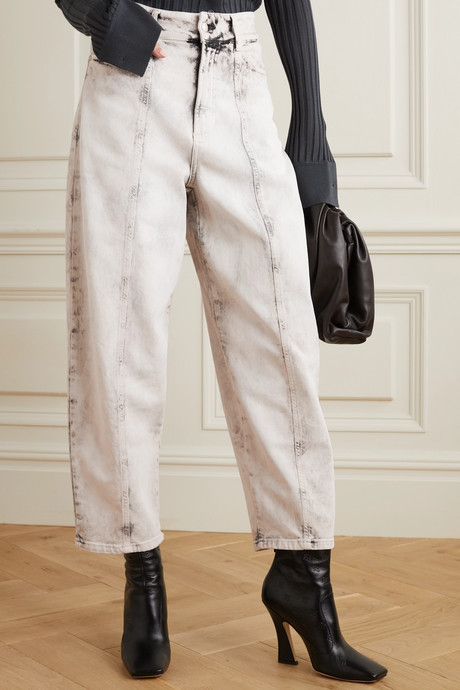 Cropped acid-wash high-rise straight-leg jeans