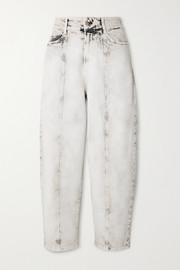 Stella McCartney Cropped acid-wash high-rise straight-leg jeans