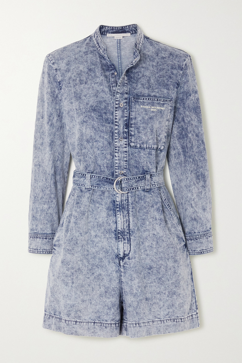 Stella McCartney Belted acid-wash denim playsuit