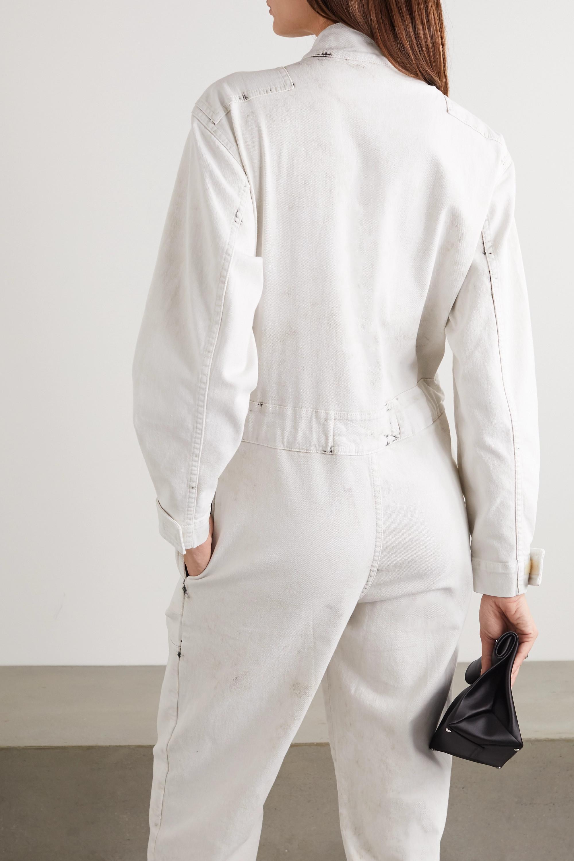 Stella McCartney Zip-embellished acid-wash denim jumpsuit