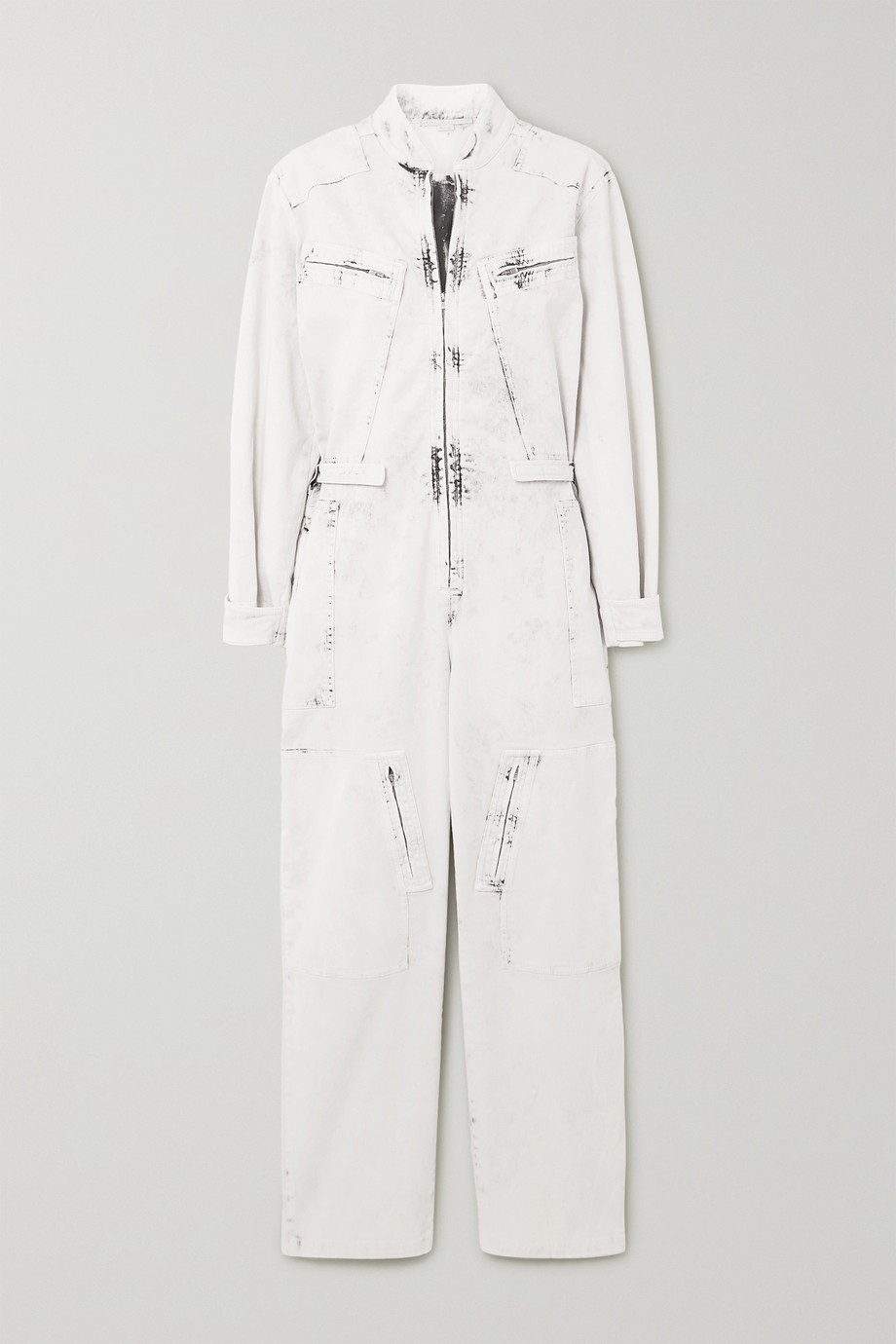 Stella McCartney Zip-embellished acid-wash denim jumpsuit