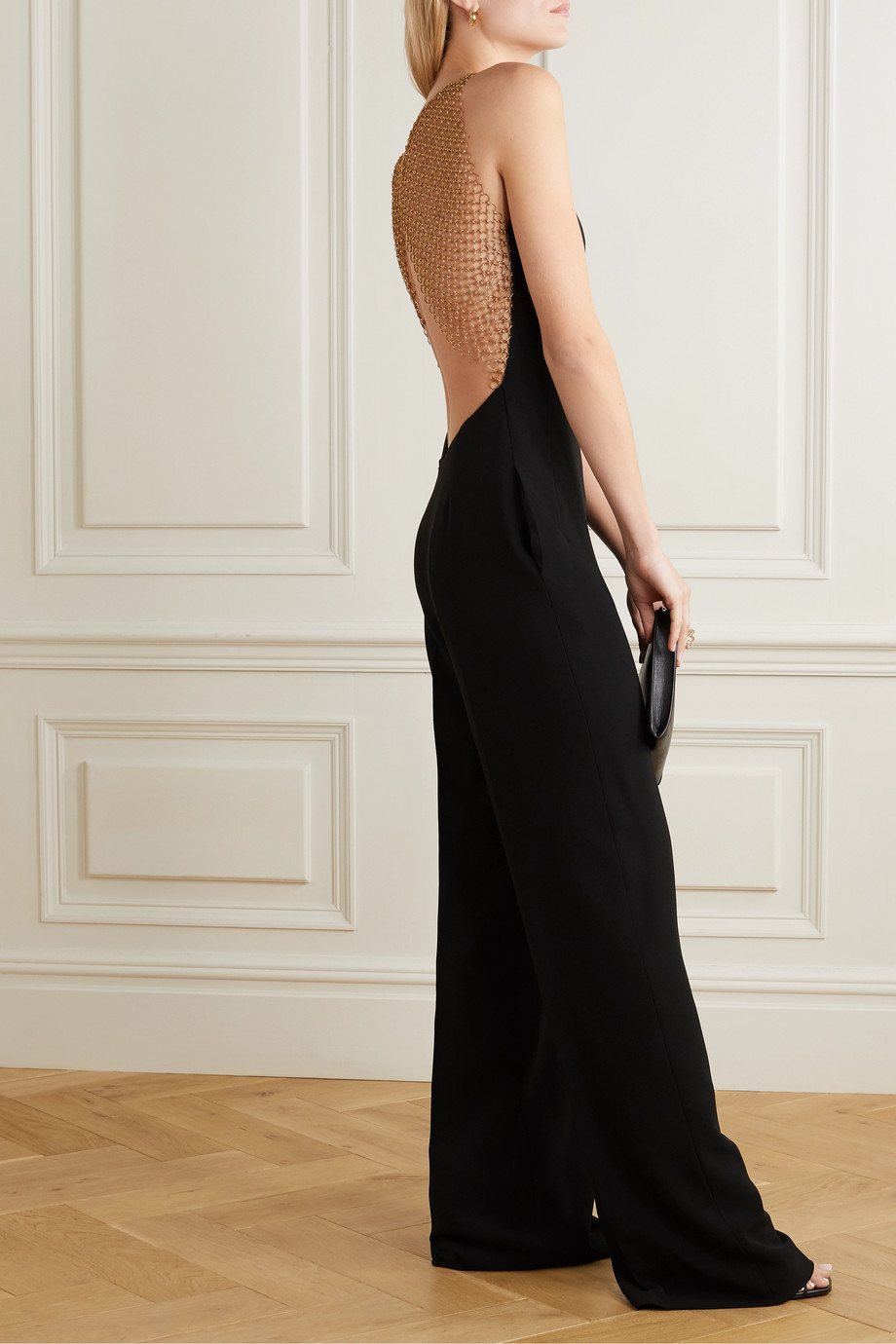 Stella McCartney + NET SUSTAIN chain-embellished crepe jumpsuit