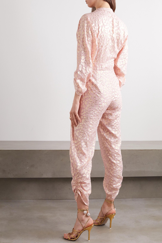 Stella McCartney Tie-front ruched metallic fil coupé silk-blend jumpsuit