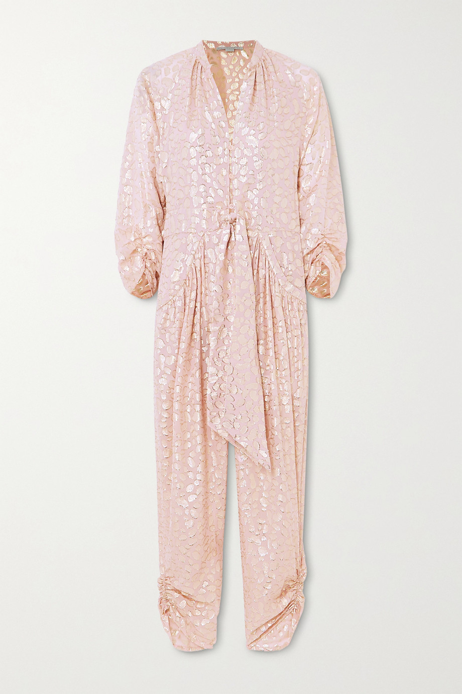 Stella McCartney Tie-front ruched metallic fil coupé silk-blend jumpsuit