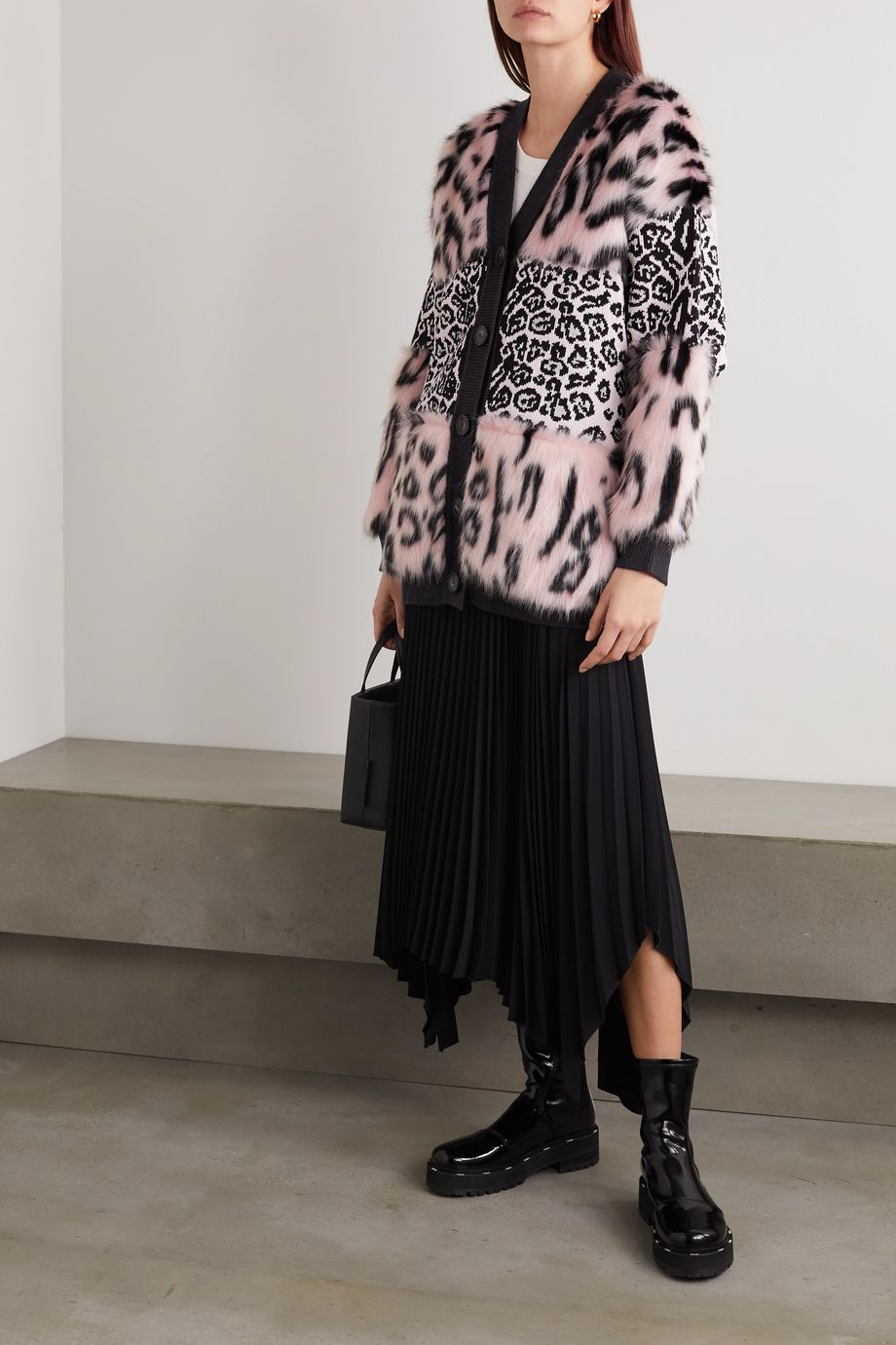 Stella McCartney Faux fur and leopard-intarsia knitted cardigan