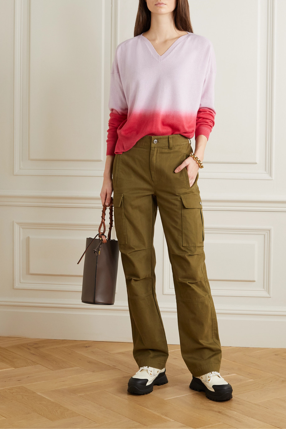 Stella McCartney + NET SUSTAIN ombré cashmere and wool-blend sweater