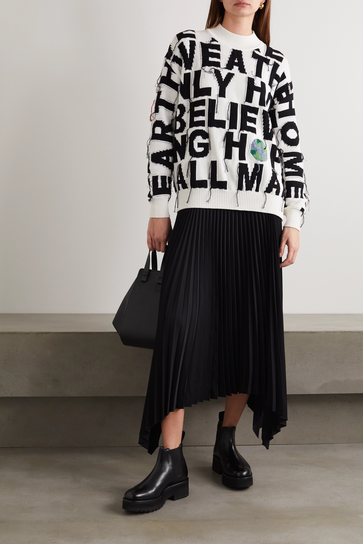 Stella McCartney Oversized-Pullover aus Biobaumwolle mit Intarsienmuster und Distressed-Details
