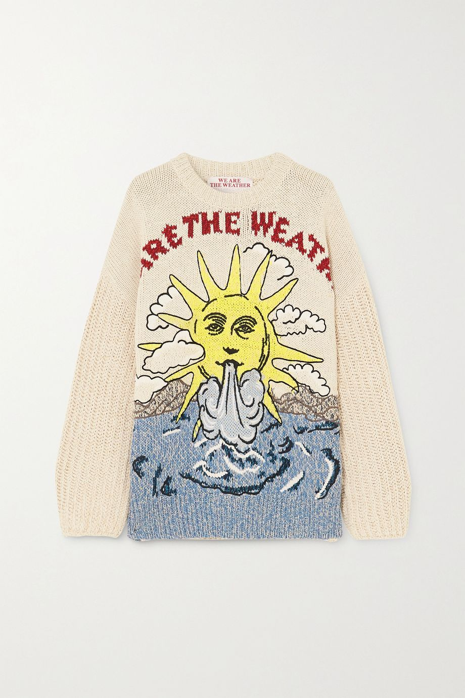 Stella McCartney Embroidered intarsia organic cotton and linen-blend sweater