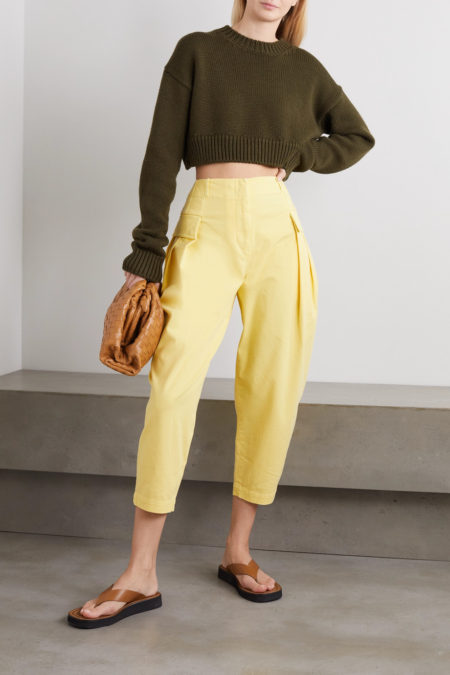 Stella McCartney Stretch-cotton twill tapered cargo pants