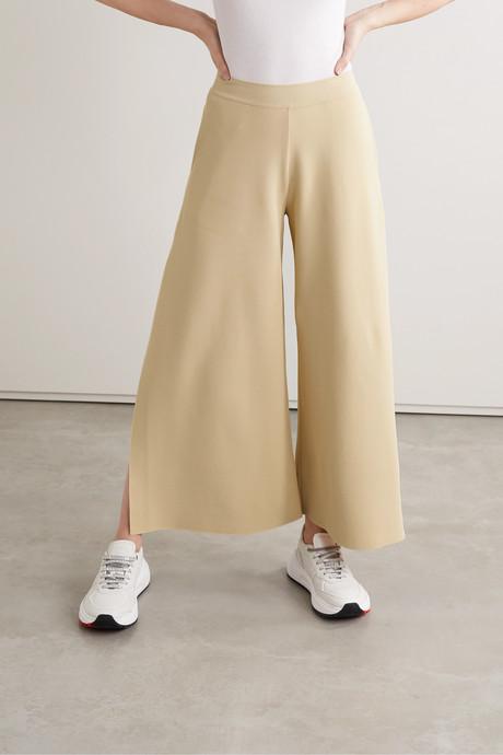 + NET SUSTAIN stretch-knit culottes