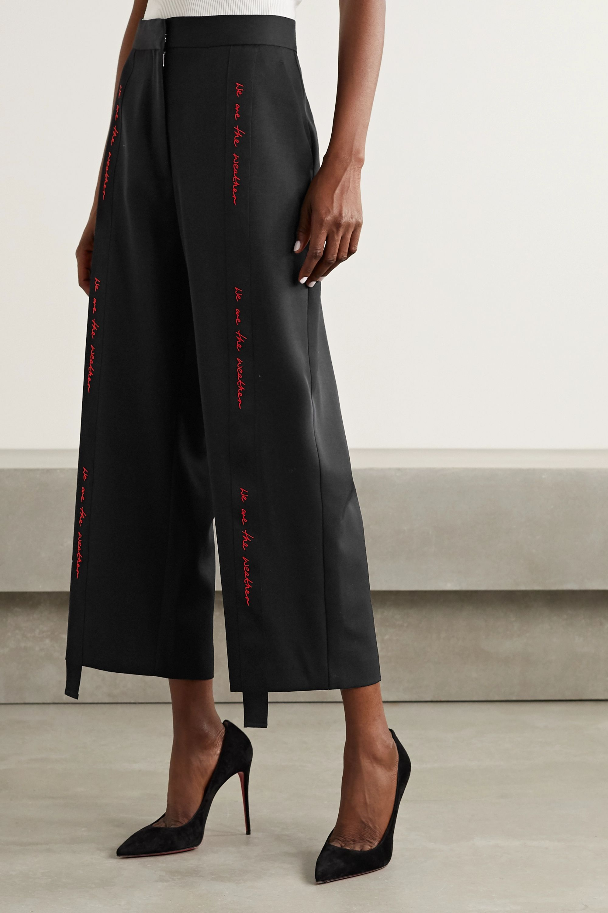 Stella McCartney We Are The Weather embroidered grosgrain-trimmed wool wide-leg pants