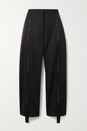 We Are The Weather embroidered grosgrain-trimmed wool wide-leg pants