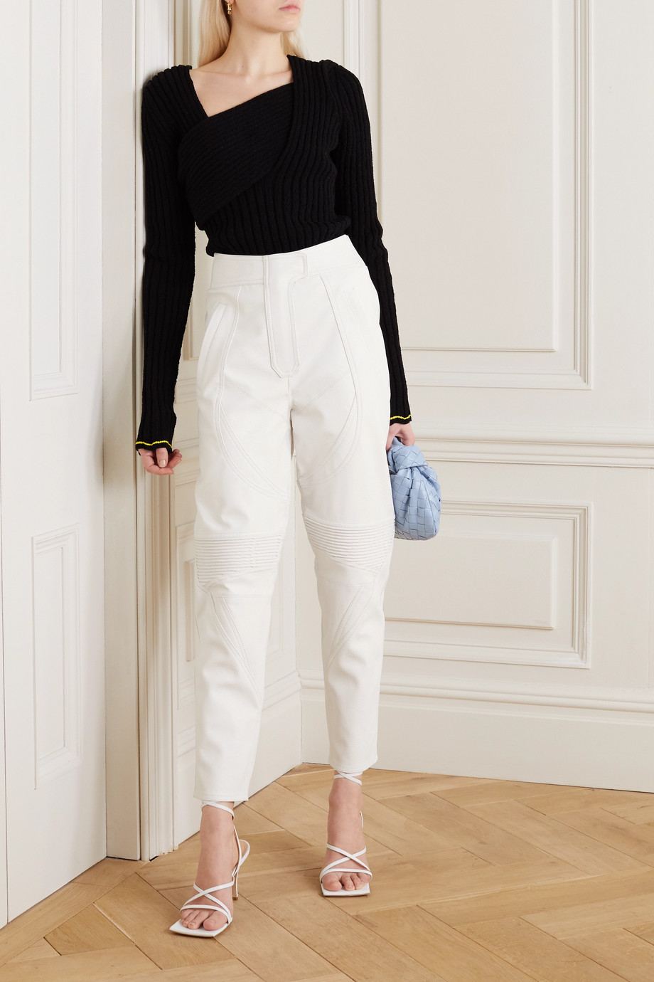 Stella McCartney Paneled vegetarian leather tapered pants