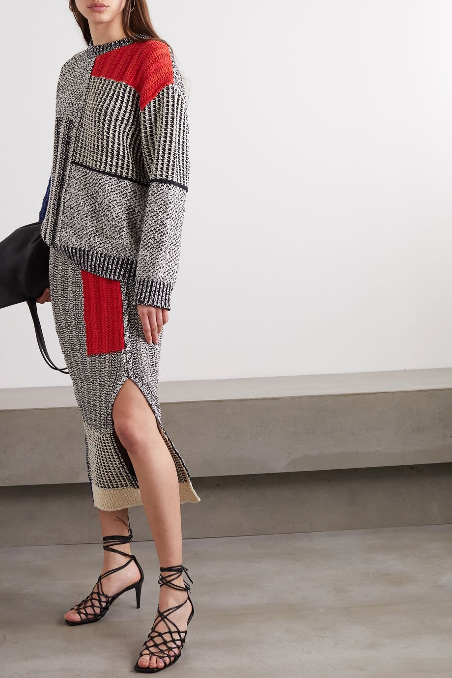 Stella McCartney Patchwork knitted midi skirt