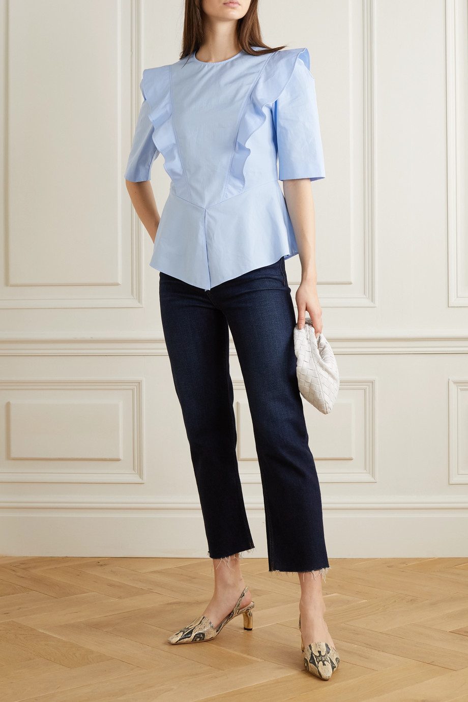 Stella McCartney + NET SUSTAIN ruffled cotton-poplin peplum blouse